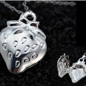 NEW-925 Silver Stamped Strawberry Pendant Necklace